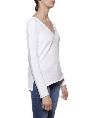 Cruciani: v necks online - Cotton V-neck sweater with vents