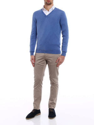 Cruciani: v necks online - Niagara blue cotton sweater