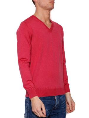 Cruciani: v necks online - Red cotton V-neck sweater