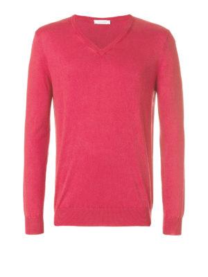 Cruciani: v necks - Red cotton V-neck sweater