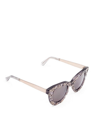 Cutler And Gross: sunglasses - Leopard print square sunglasses