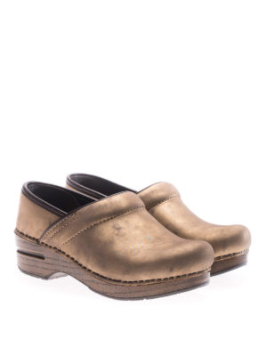 Dansko: mules shoes online - Professional bronze leather clogs