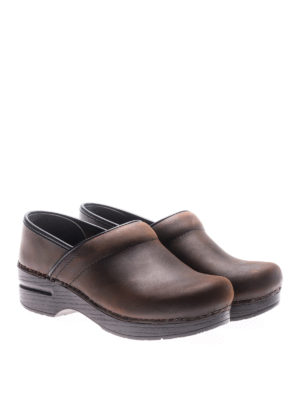 Dansko: mules shoes online - Professional brown leather clogs