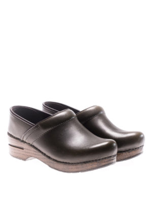 Dansko: mules shoes online - Professional green leather clogs