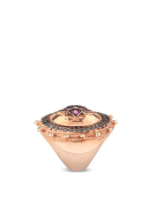 De Maria: rings online - Silver ring with rubies and diamonds