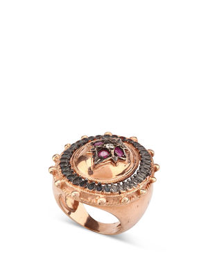 De Maria: rings - Silver ring with rubies and diamonds