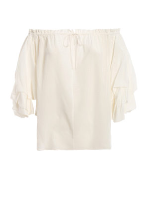 57317dc84db039 Diane von Furstenberg  bluse - Blusa Georganne off the shoulder in seta