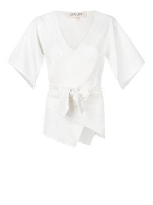 Diane Von Furstenberg: blouses - Ivory cady wrap blouse