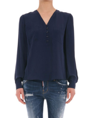 Diane Von Furstenberg: blouses online - Pockets detailed silk blouse