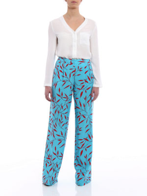 Diane Von Furstenberg: casual trousers online - Printed silk wide leg trousers