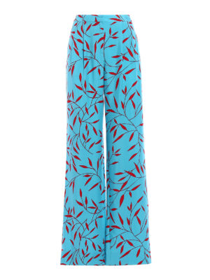 Diane Von Furstenberg: casual trousers - Printed silk wide leg trousers