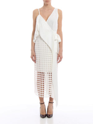 Diane Von Furstenberg: cocktail dresses online - Satin and lace ruffled wrap dress