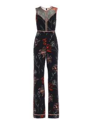 Diane Von Furstenberg: jumpsuits - Flowers print silk jumpsuit