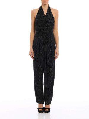 Diane Von Furstenberg: jumpsuits online - Polka dot silk wrap jumpsuit