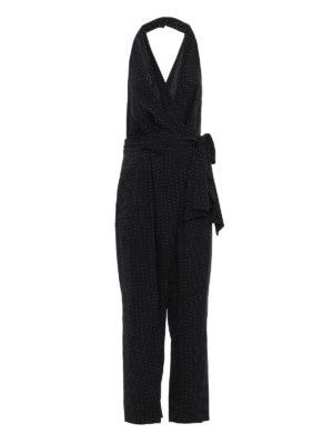Diane Von Furstenberg: jumpsuits - Polka dot silk wrap jumpsuit