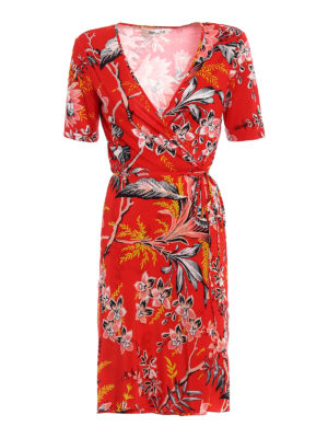 Diane Von Furstenberg: knee length dresses - Floral printed silk wrap dress