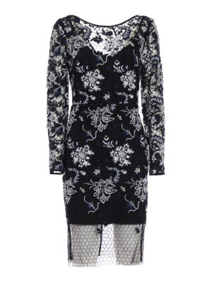 Diane Von Furstenberg: knee length dresses - Guipure lace and tulle fitted dress