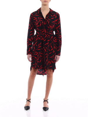 Diane Von Furstenberg: knee length dresses online - Belted asymmetrical silk dress