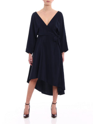 Diane Von Furstenberg: knee length dresses online - Blue pure silk asymmetric dress
