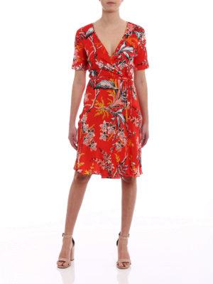 Diane Von Furstenberg: knee length dresses online - Floral printed silk wrap dress