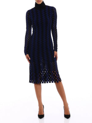 Diane Von Furstenberg: knee length dresses online - Intarsia knit turtleneck dress