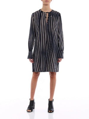 Diane Von Furstenberg: knee length dresses online - Striped silk keyhole dress