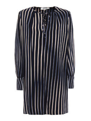 Diane Von Furstenberg: knee length dresses - Striped silk keyhole dress