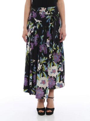 Diane Von Furstenberg: Knee length skirts & Midi online - Floral silk wrap skirt