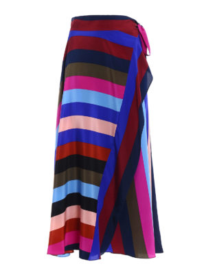 Diane Von Furstenberg: Long skirts - Multicolour striped silk skirt
