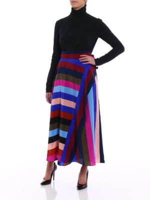 Diane Von Furstenberg: Long skirts online - Multicolour striped silk skirt