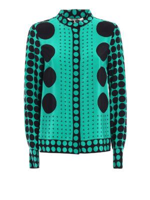 Diane Von Furstenberg: shirts - Brunel Evergreen print silk shirt