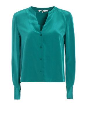 Diane Von Furstenberg: shirts - L/S Neck jade silk shirt