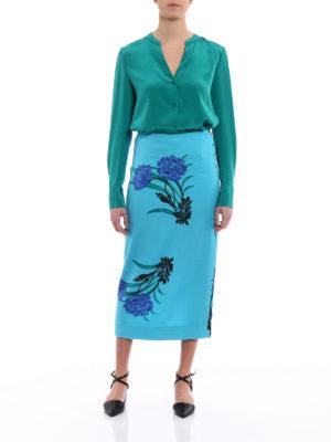 Diane Von Furstenberg: shirts online - L/S Neck jade silk shirt