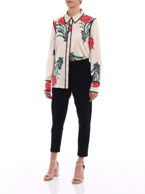 Diane Von Furstenberg: shirts online - Patterned stretch silk shirt