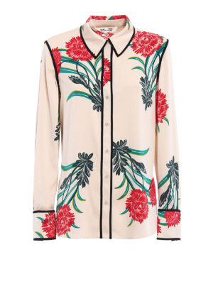Diane Von Furstenberg: shirts - Patterned stretch silk shirt