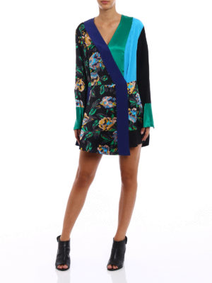 Diane Von Furstenberg: short dresses online - Printed silk wrap mini dress