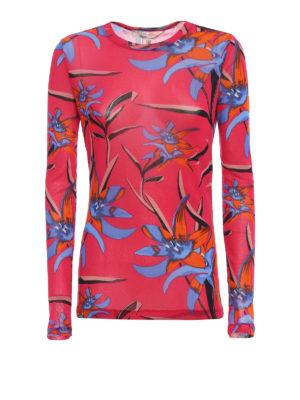 Diane Von Furstenberg: t-shirts - Floral stretch fine mesh Tee