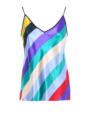 Diane Von Furstenberg: Tops & Tank tops - Multicolour striped silk satin top