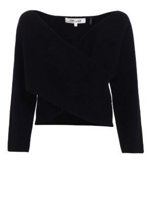 Diane Von Furstenberg: v necks - Cashmere wrap crop sweater
