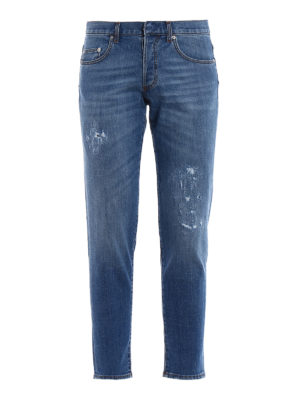 Dior: straight leg jeans - Fake scraping slim crop jeans