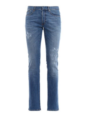 Dior: straight leg jeans - Fake scraping slim denim jeans