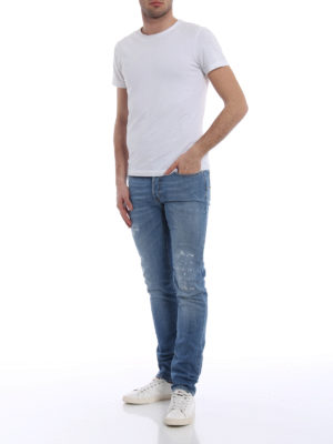 Dior: straight leg jeans online - Fake scraping slim denim jeans