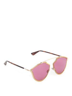 Dior: sunglasses - DiorSoRealRise gold-tone sunglasses