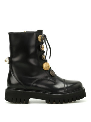 Dolce & Gabbana: ankle boots - Button adorned leather ankle boots