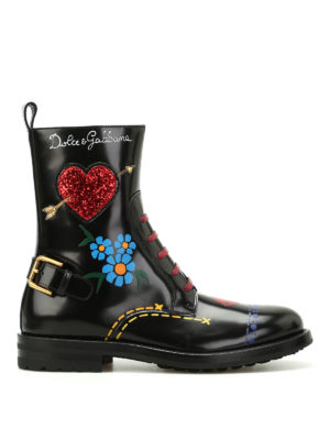 Dolce & Gabbana: ankle boots - Coloured print leather ankle boots