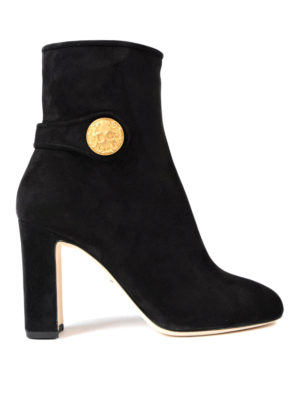 Dolce & Gabbana: ankle boots - Gold-tone button suede booties