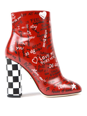 Dolce & Gabbana: ankle boots - Graffiti print leather booties