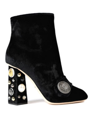 Dolce & Gabbana: ankle boots - Jeweled heel velvet booties