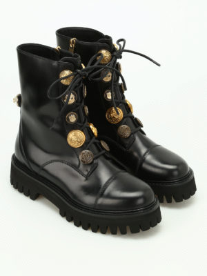 Dolce & Gabbana: ankle boots online - Button adorned leather ankle boots
