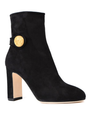 Dolce & Gabbana: ankle boots online - Gold-tone button suede booties